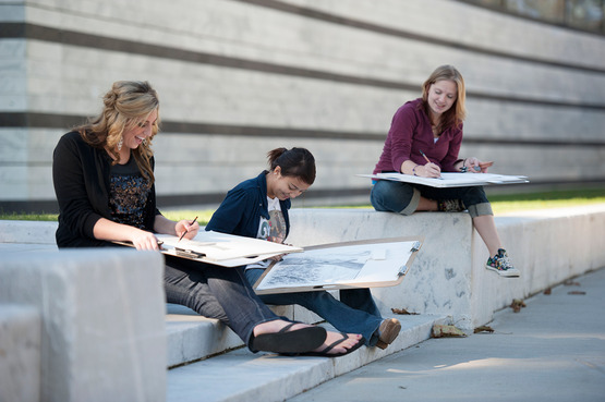 Students sketching at the Cleveland Museum of Art