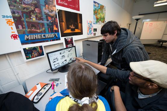 Students in the Game Design studio