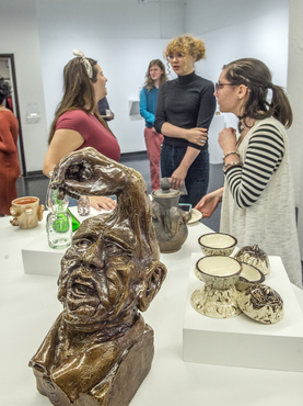 ceramics, glass, and metalwork in Antiquity Now exhibition