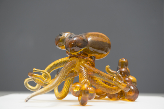 A glass octopus created by a Pre-College student.