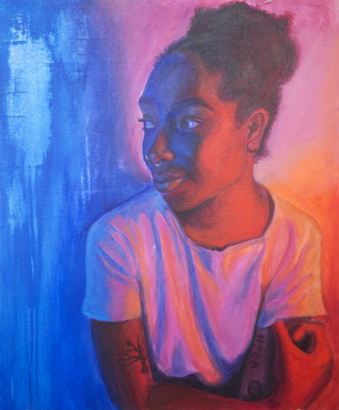 A colorful portrait painted by a Pre-College student.