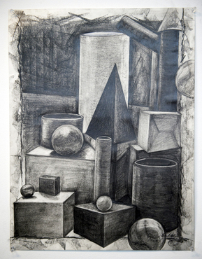 A charcoal still life created in the Foundation in Drawing class.