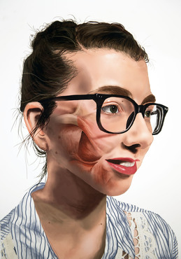An example of a digital portrait created in the Biomedical Art class.