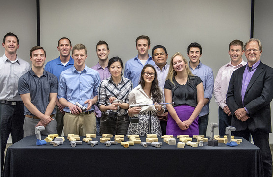 Industrial Design students on the Stryker project team with a few of their surgical tool prototypes.