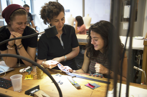 Students working in the jewelry and metal studio at CIA.