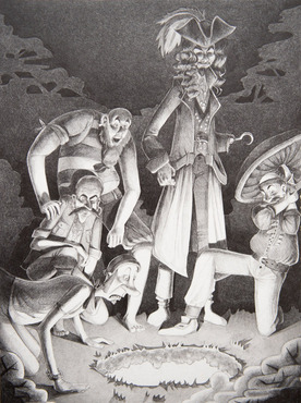 An illustrated scene from Peter Pan created by a Pre-College student.