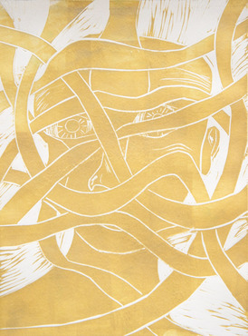 A close-up of an abstract print created by a Pre-College student.