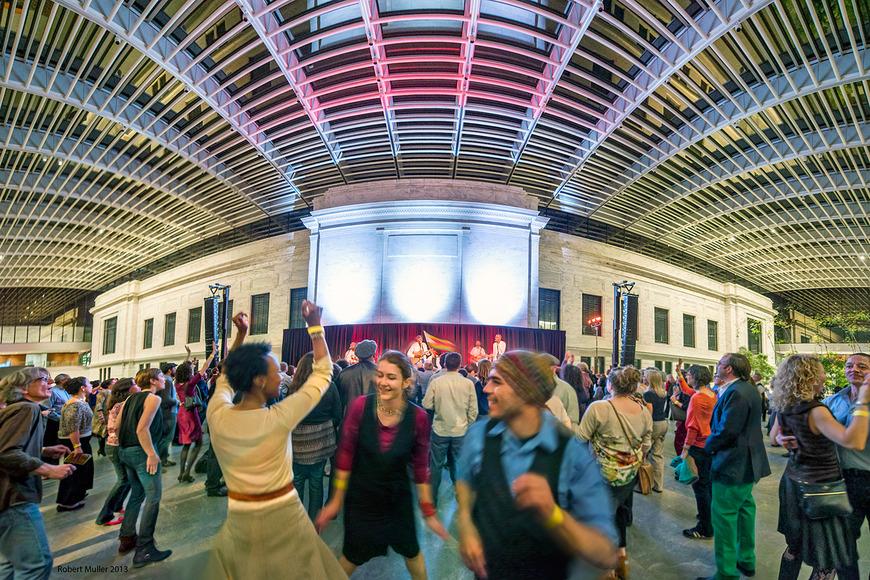 gathering at Cleveland Museum of Art atrium