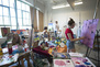 A view of the painting studios, with students hard at work.