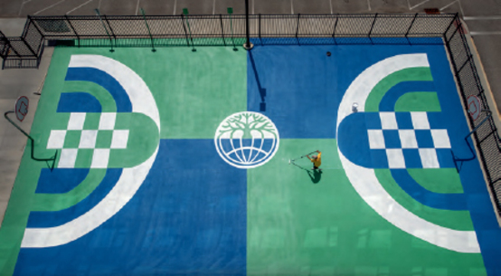 painted basketball court